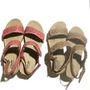 2-Bundle Clarks Tan/Coral Sandals
